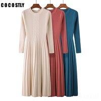 Winter Dress Long sleeve OL long O neck Sweater Dress Women Thick A line dress Slim Female Jumper Female Knitted Dress
