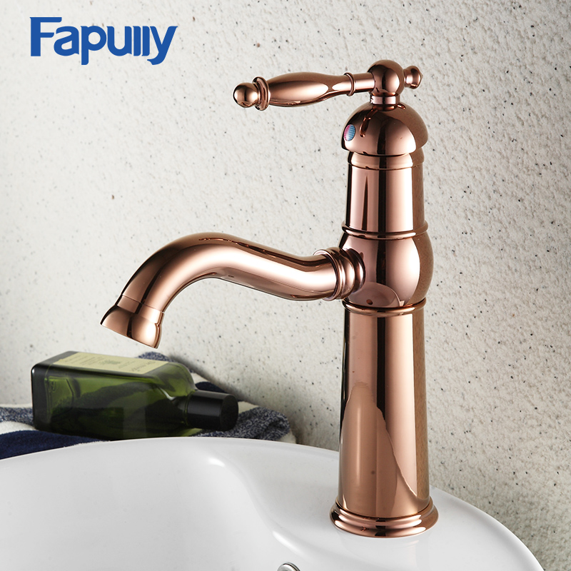Fapully Bathroom Basin Faucet Rose Gold Single Handle Deck Mount Hot And Cold Water For Tubs Water Mixer TapFapully Bathroom Basin Faucet Rose Gold Single Handle Deck Mount Hot And Cold Water For Tubs Water Mixer Tap