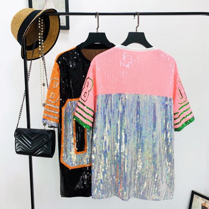 NANCYLIM Sequins T-shirt Women 2019 Summer New Sequined Hit Color Loose Sparkling Short Sleeve T-shirt Girl Hip Hop Oversize Tee