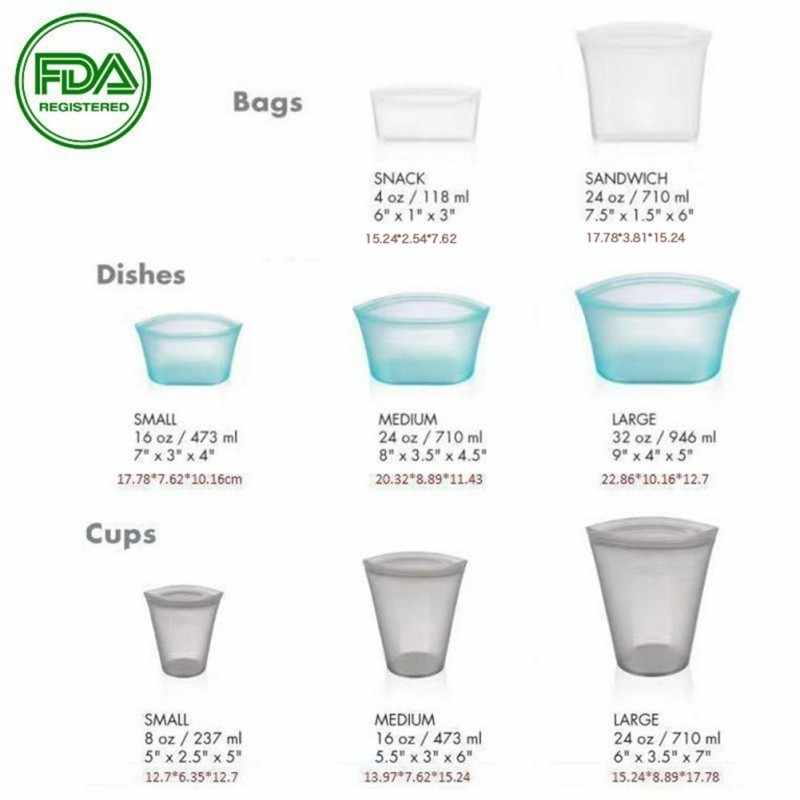 FDA Silicone Home Kitchen Zip Top Bags Wrap Foods Fruits Can Bag Zipper Cover Fresh Foods Container Tools Storage Organizer Sets