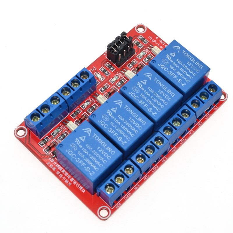 12V 4 Channel 4 Road Relay Module with Optocoupler Isolation Supports High and Low Trigger