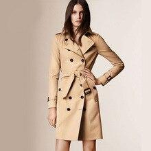 Brand Cotton Gabardine Trench Coat 2016 Fashion Khaki Turn-down Collar Double Breasted Trench Coat For Women Medium-long Tops