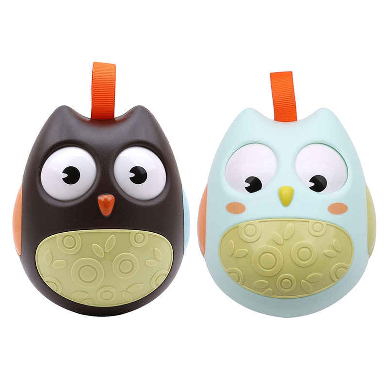 Cute Baby Toys Nodding Moving Eyes Owl Doll Baby Rattles Gifts Baby Roly Poly Tumbler Toy With Bell Toys For Children