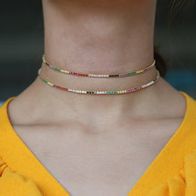 2019 new arrived spring new design bright rainbow colorful jewelry choker party gift thin adorable stunning women necklace(China)