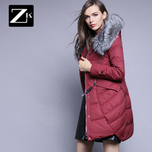 2016 new hot winter Thicken Warm woman Down jacket Coat Parkas Outerwear Hooded fox Fur collar long plus size 2XXL luxurious
