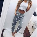 2016 Spring Pink Gray New Arrival Women Pants Star Pattern Thicken Casual Pants Street or Home Wear Sportwear Pants Calcas