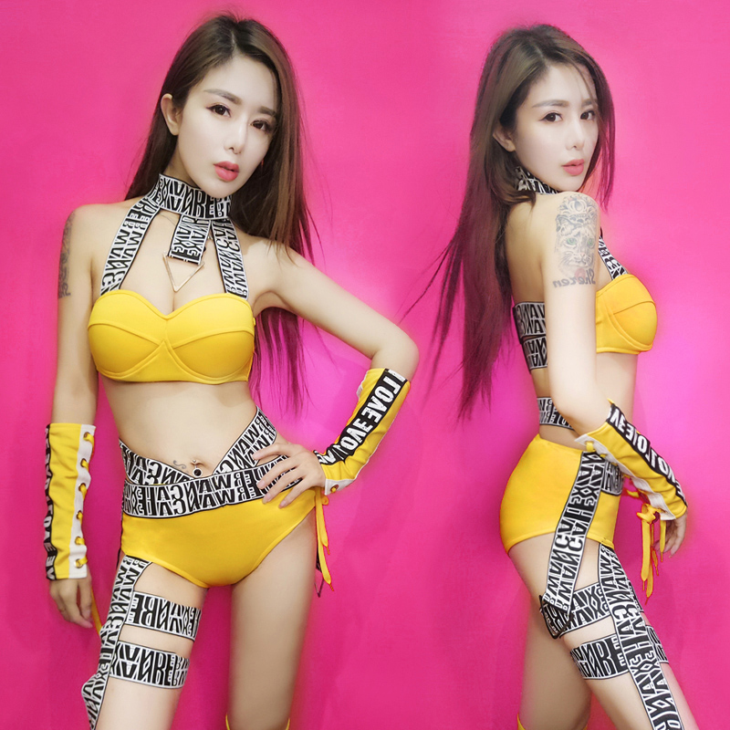 Bar Dj Female Singer Performance Clothing Sexy Ribbon Split Hip Hop Dance  Costumes Nightclub Ds Costumes Yellow-in Ballroom from Novelty & Special  Use on ...