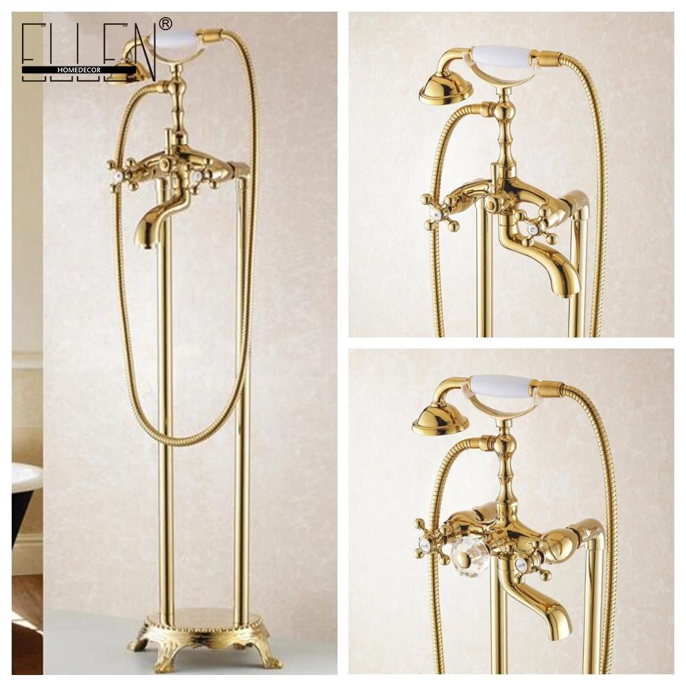 Bathroom Golden Floor Stand Faucet Telephone Type Bath Shower Mixer Brass Shower set Luxury Bathtub Tap 901