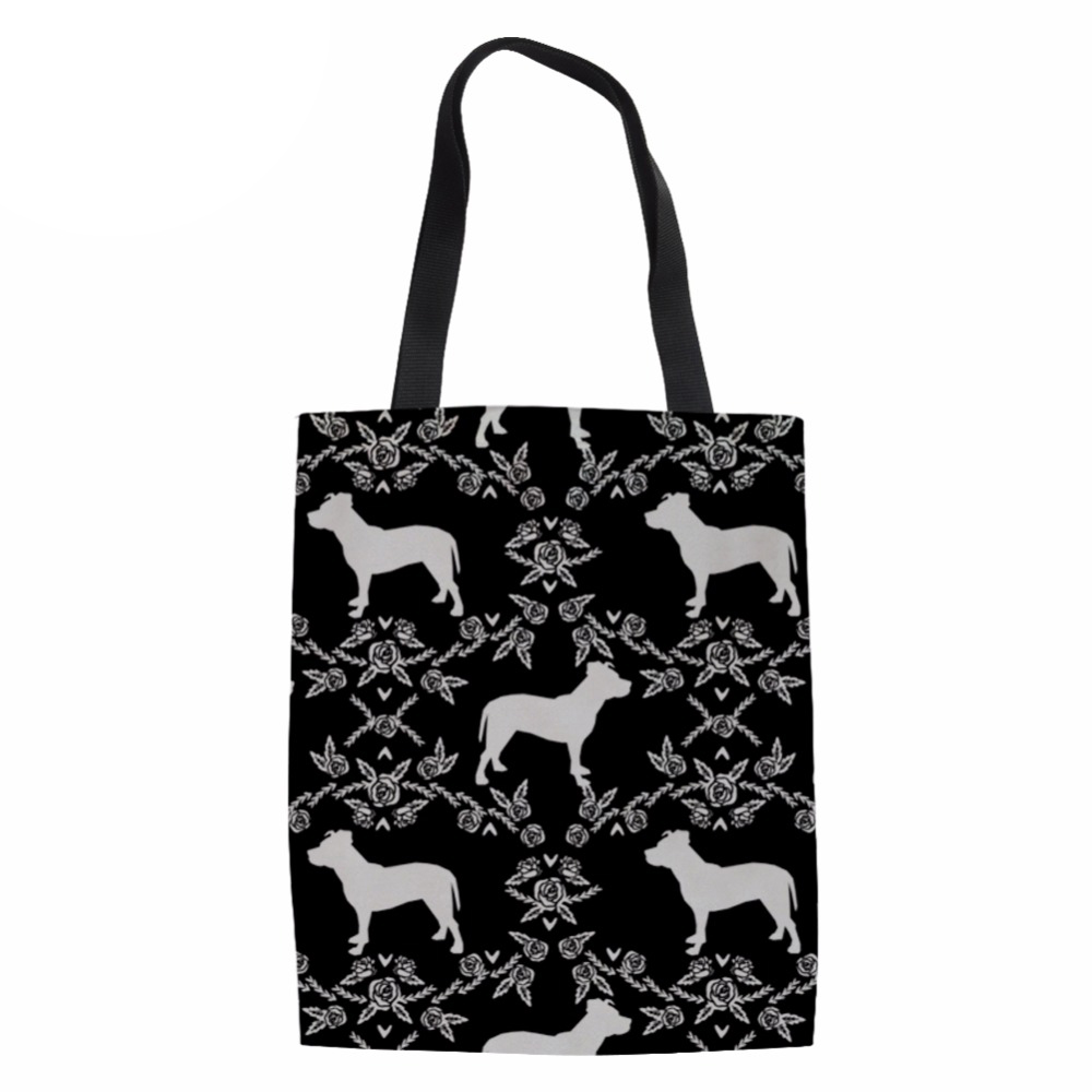 Shopping Bag for Women Handbags Eco-friendly Grocery Bags Portable Canvas Bags Pit Bull Terrier Printing Shopper Bags