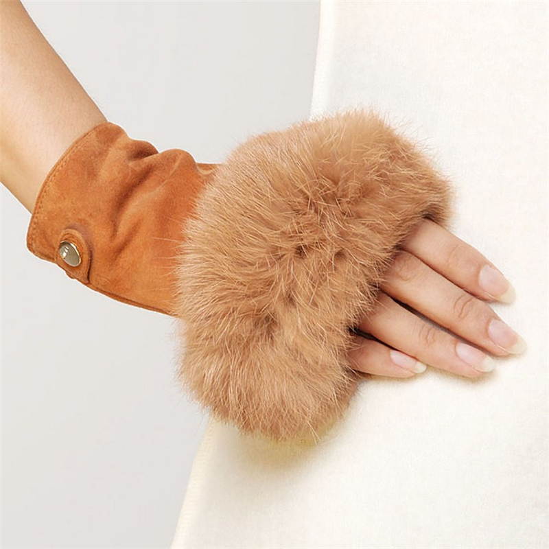 Women Fashion Suede Leather Gloves Rabbit Hair Wrist Fingerless Mittens For  High Quality Half Finger Female Mitten EL019NC-5
