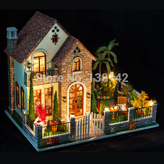 K007 Large Diy dollhouses miniatura Creative villa model Assemble Wooden Miniature Doll House Furniture Toys free shipping d030 diy mini villa model large wooden doll house miniature furniture 3d wooden puzzle building model