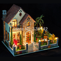 K007 Large Diy dollhouses miniatura Creative villa model Assemble Wooden Miniature Doll House Furniture Toys free shipping