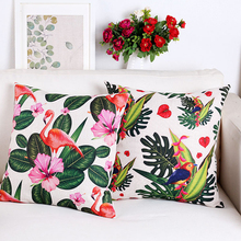 Mediterranean Tropical plants Flowers leaf Linen Pillows Cover Wedding Office Sofa Cushion Cover Home Decorative Pillow Case