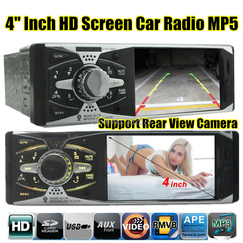 2015 new 4.1'' inch TFT HD screen car radio player USB SD aux in 1080P movie rear view camera radio 1 din car audio stereo mp5
