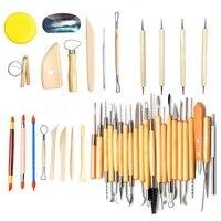 51 Pcs Arts Crafts Clay Sculpting Tools Pottery Carving Tool Set Pottery &Amp Ceramics Wooden Handle Modeling Clay Tools