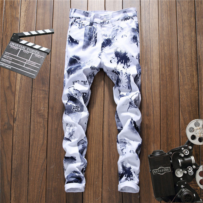 New 2018 printed trousers cultivate young man without playing long trousers fashion casual pants wet pants 5010 nightclub