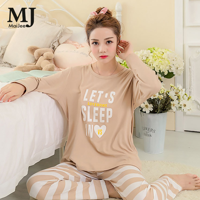 fc6c19b9c1d1 Maijee 2017 Autumn Khaki Stripe Female Pajamas For Women Print Cute Loose  Sleepwear Girl Pyjamas Women Nightgown Sleepwear