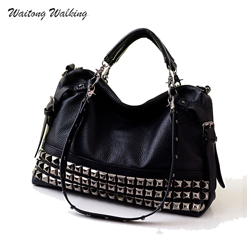 Luxury Handbags Women Bag Designer Leather Brand Handbag Rock Motorcycle Rivet Bags Bolsa Feminina Shoulder Bag