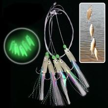 10pcs/lot  5 types Sabiki Soft Fishing Lure Rigs Luminous fish head string hook soft bait artificial lure Worn Fake