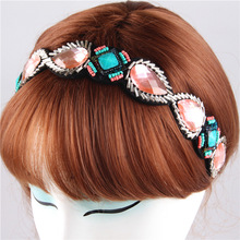 New Bohemian Fashion Retro Women HairBand Pink Crystal Rhinestone Vintage Beads Elastic Headband Hair Accessories Jewelry Gift