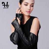 FURTALK Women S Genuine Nappa Leather Elbow Long Fingerless Driving Gloves ARM Warmer