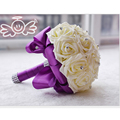 2016 in stock Crystal Handmade Wedding Decoration flower White Bridesmaid Bridal Bouquets artificial Rose Wedding Bouquet BQ6003
