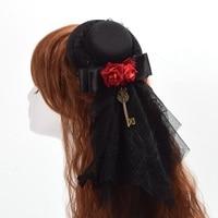1pc Vintage Women Red Floral Black Lace Veil Mini Top Hat Hair Clip Goth Headwear Steampunk