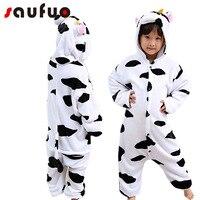 Kigurumi Cow Cartoon Pajamas For Boy Girl Kids Unisex Flannel One Piece Pijama Anime Home Child