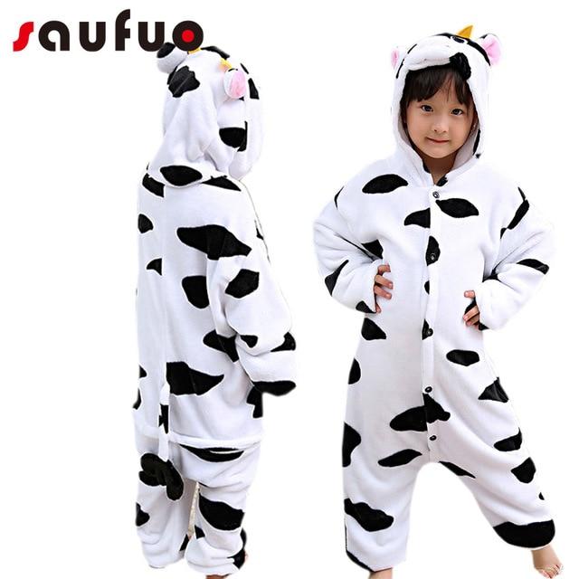 34ce24c18af1 Kigurumi vaca pijamas de dibujos animados para niño niña niños Unisex  franela una pieza Pijama Anime