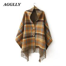 Хит, женские клетчатые шарфы mujer, кашемировая шаль цвета хаки, большой шерстяной шарф, Boho накидка, зимнее пальто, шарф-пончо с кисточками и накидки A51