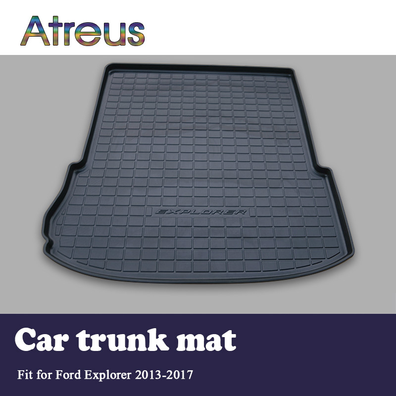 Atreus For Ford Explorer Accessories 2013 2014 2015 2016 2017 Rear Boot Liner Trunk Cargo Mat Tray Floor Carpet Pad Protector atreus for 2015 nissan murano 2016 2017 2018 accessories car rear boot liner trunk cargo mat tray floor carpet pad protector