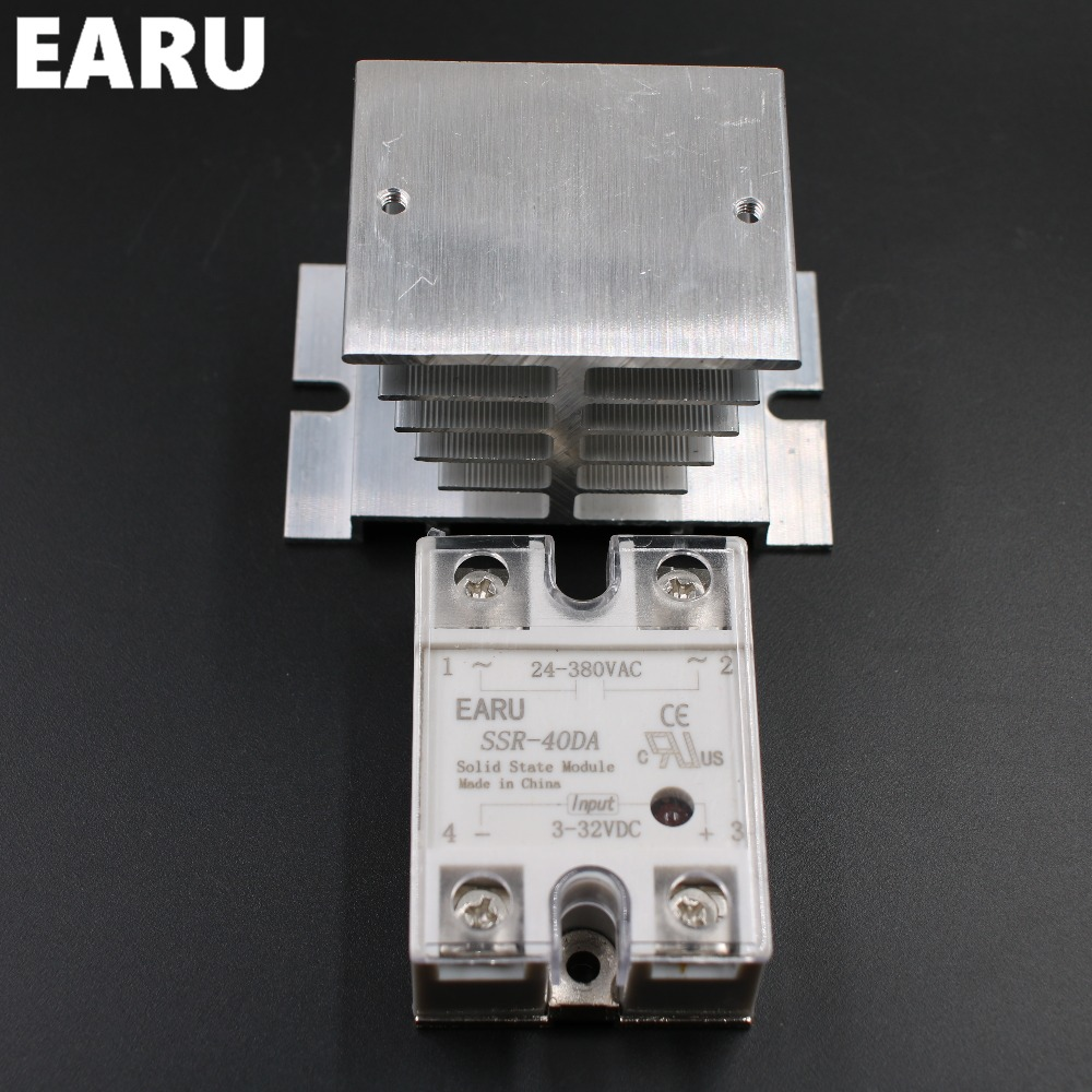 1 pc SSR-40DA Solid State Relay Moudle SSR-40 DA 40A with Plastic Cover+1 pc Aluminum Heat Sink Dissipation Radiator Combination normally open single phase solid state relay ssr mgr 1 d48120 120a control dc ac 24 480v