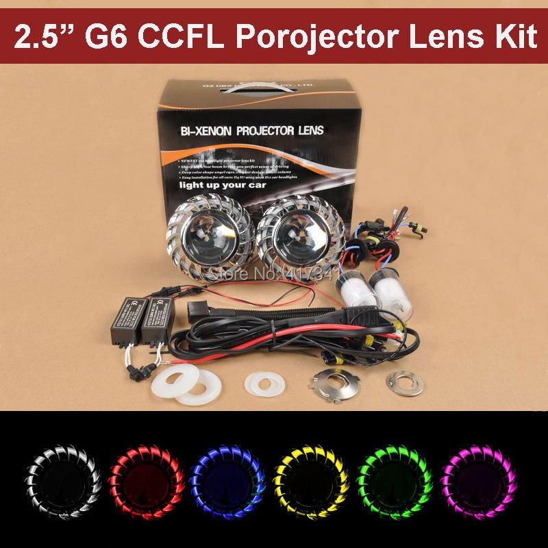 Free Shipping 2015 New 2.5 inches HID Bi xenon Projector Lens 35W HID Bulb CCFL Angel Eye for Car Headlight Retrofit Kit