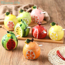 Creative Ceramic Condiment Jar Cute Fruits With Spoon And Lid Sugar Salt Jar Kitchen Supplies Seasoning Pot Storage Spice Bottle