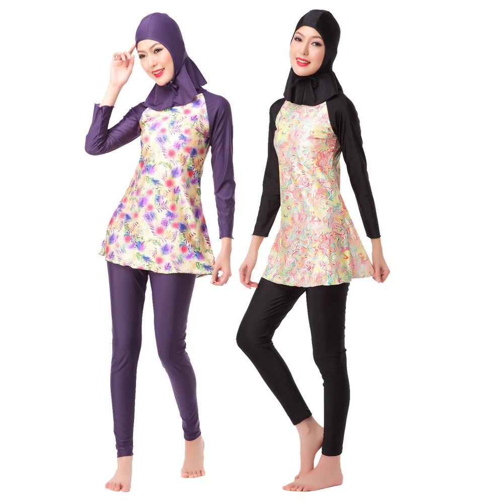 Maillot de bain islamique musulman femmes modeste maillot de bain arabe burkinabé conservateur couverture complète Hijab Sport respirant deux pièces Floral