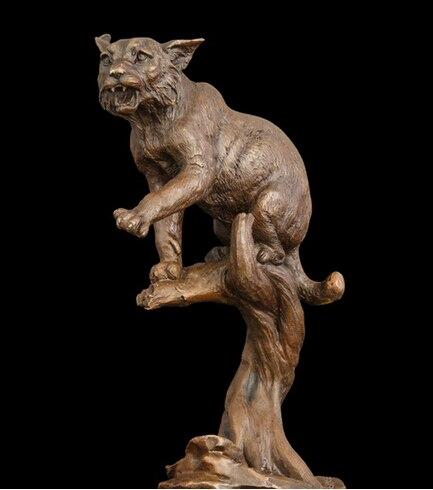 Copper decoration Fine Buddha Brass Bronze statue Statuette of the Wild Cat Lynx method of Lost Wax Bronze statues Sculpture