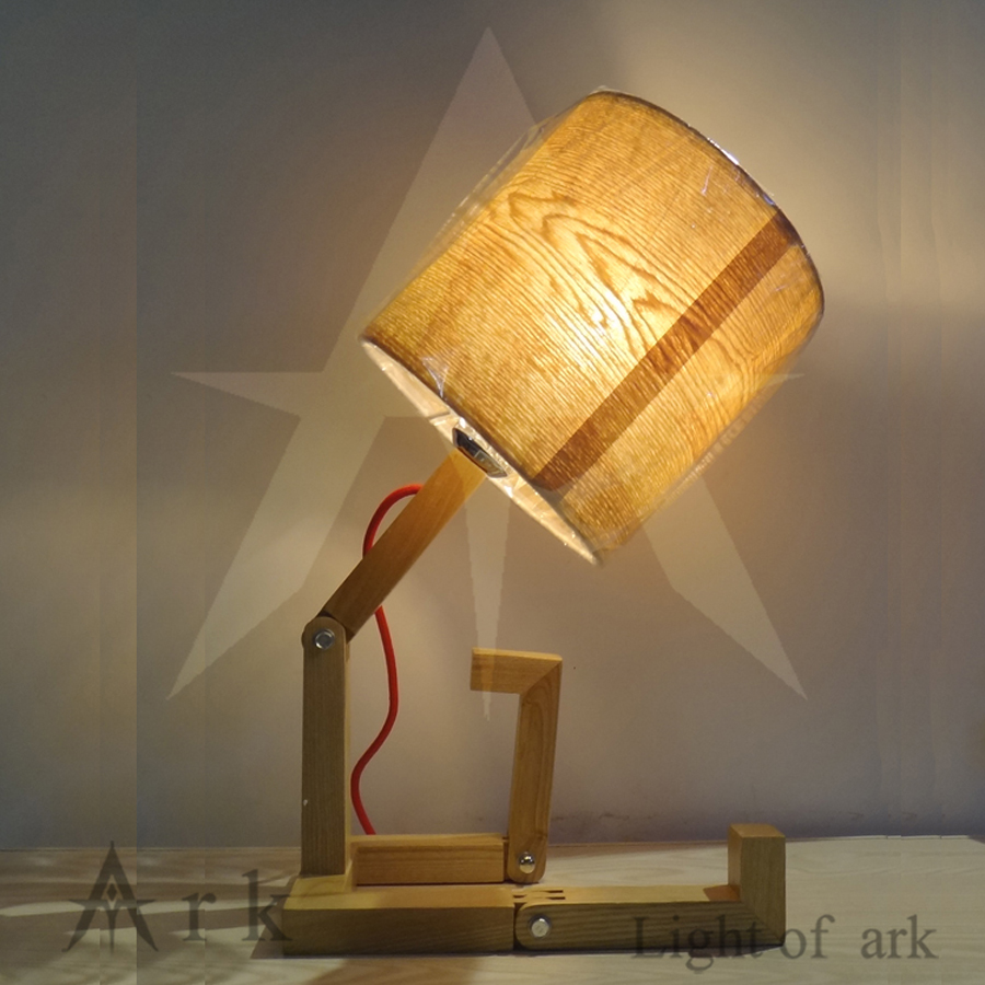 vintage wood Table Lamp wooden robot desk Light for children Modern Industrial lampunion lighting furnishings North Europe Style north european style retro minimalist modern industrial wood desk lamp bedroom study desk lamp bedside lamp