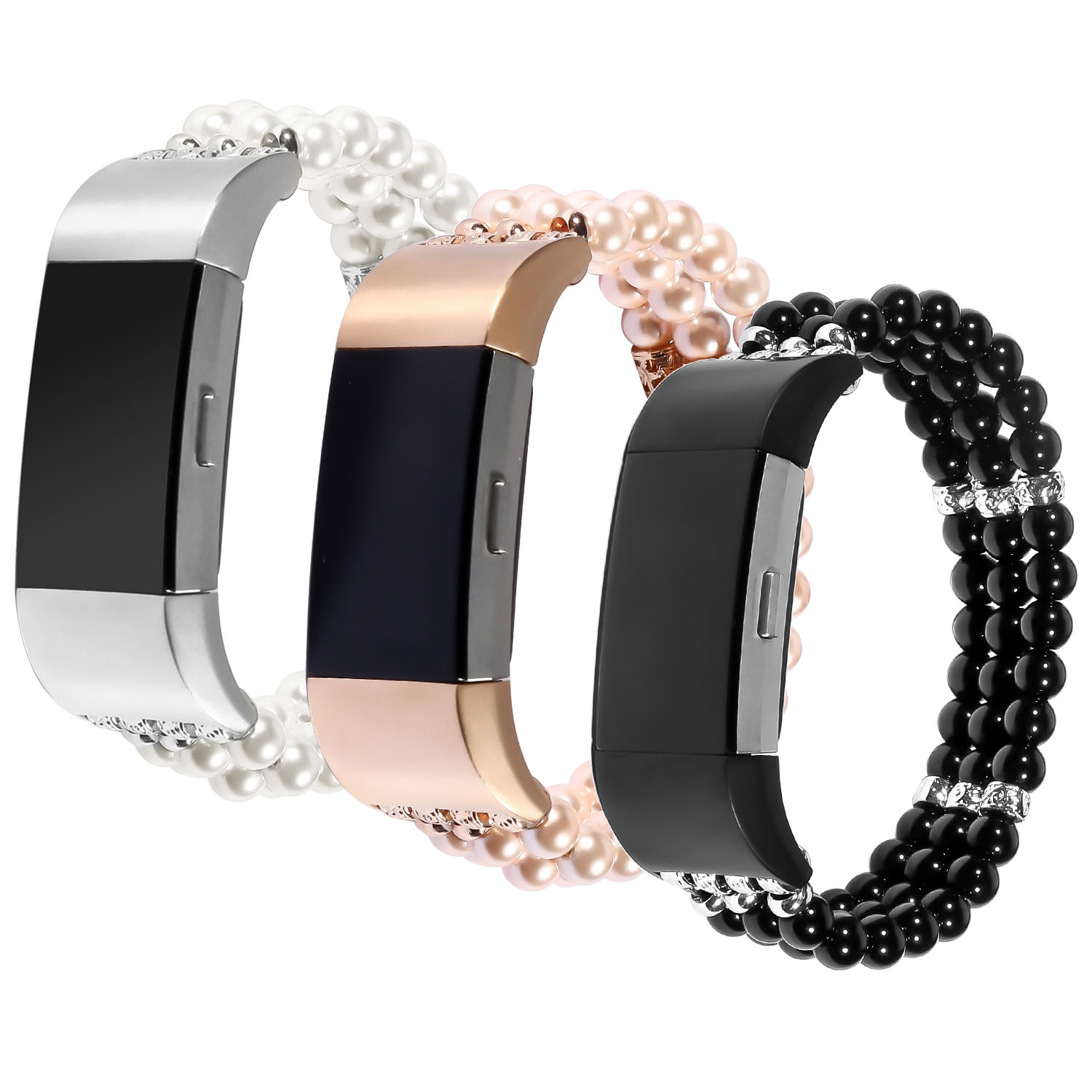 US $15 65 40% OFF|New Jewel Pearl Stretch Watch Band for Fitbit Charge 2  Strap Women's Girls' Bracelet for Fitbit Charge 2 Smart Wrist band 3PZ-in