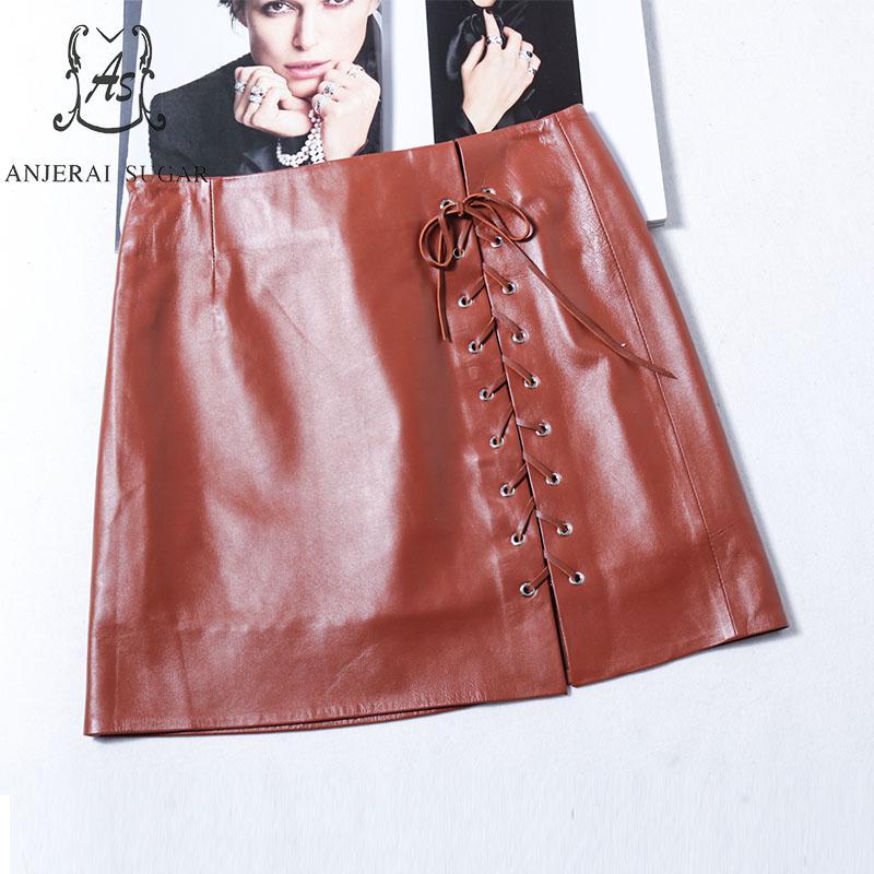 Automne Hanche Mini Véritable Mince Cuir Jupe Taille Femmes Printemps Haute Brown Sexy Femelle Noir Arc Cravate Paquet Courte Bandag Brun En dxHqw