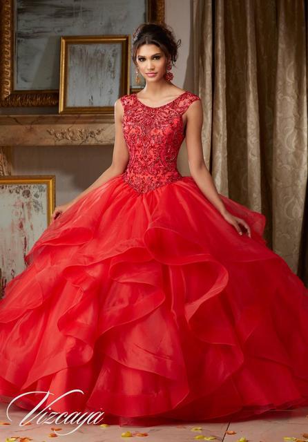 Azul Royal Longo vestido de Baile Frisada Vestido De Debutante Masquerade Quinceanera Vestidos de Organza Sem Encosto Sexy Vermelho