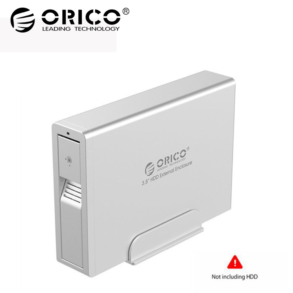 ORICO 3.5 inch Hard Drive HDD Enclosure Aluminum USB3.0 to SATA external HDD Case Tool Free Support UASP 12V2.5A Power 7618US3 ugreen hdd enclosure sata to usb 3 0 hdd case tool free for 7 9 5mm 2 5 inch sata ssd up to 6tb hard disk box external hdd case