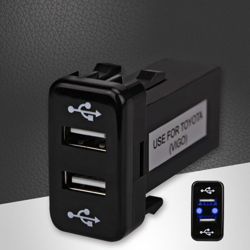 Car Dual USB Charger Audio Port Interface LED Light For Toyota Prado 120 Series Toyota Hilux/Vigo