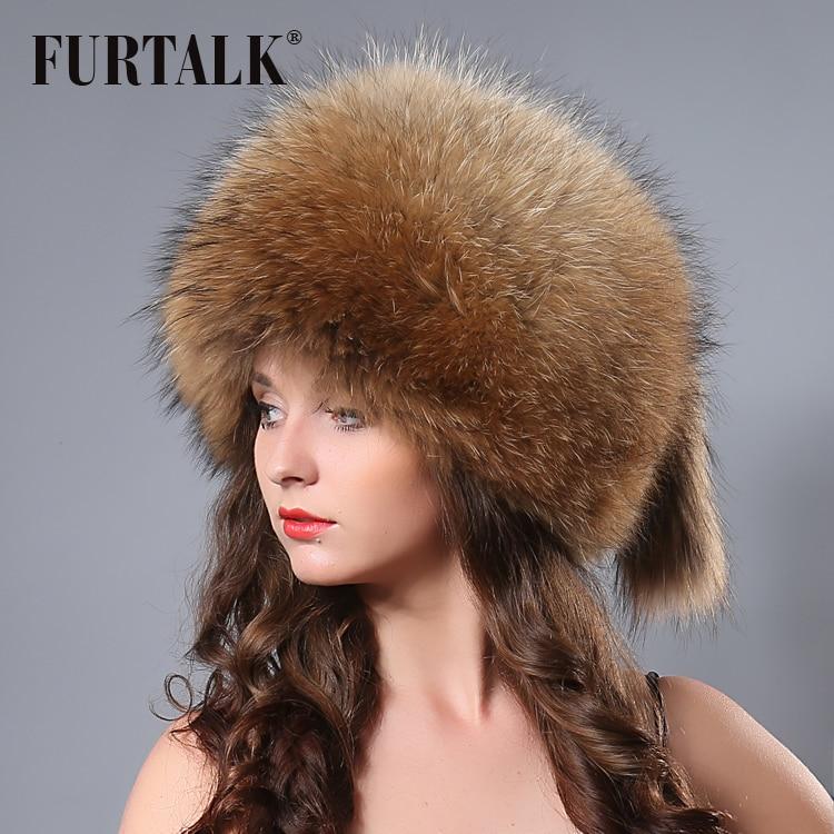 Fur Talk Fashion winter russian animal fur hat white real fox raccoon fur hats for women fur talk fashion winter russian animal fur hat white real fox raccoon fur hats for women