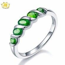 Anéis de Casamento Hutang 5 pedra Anel Diopside Natural Pure 925 Prata Esterlina Jóias Finas Vivas Verde Pedras Preciosas para As Mulheres do Presente