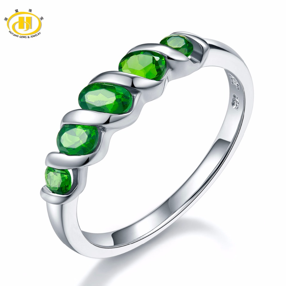 Hutang Wedding Rings Natural Diopside Ring Pure 925 Sterling Silver 5-stone Fine Jewelry Vivid Green Gemstones For Women's Gift