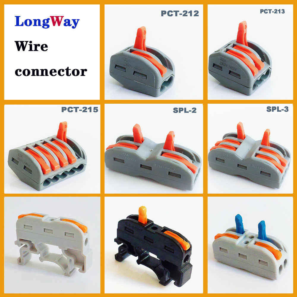 Wire Connectors plug in 2pin 3pin push-in cable Connector Terminal Block SPL-2 212 type mini fast Electrical wire connector