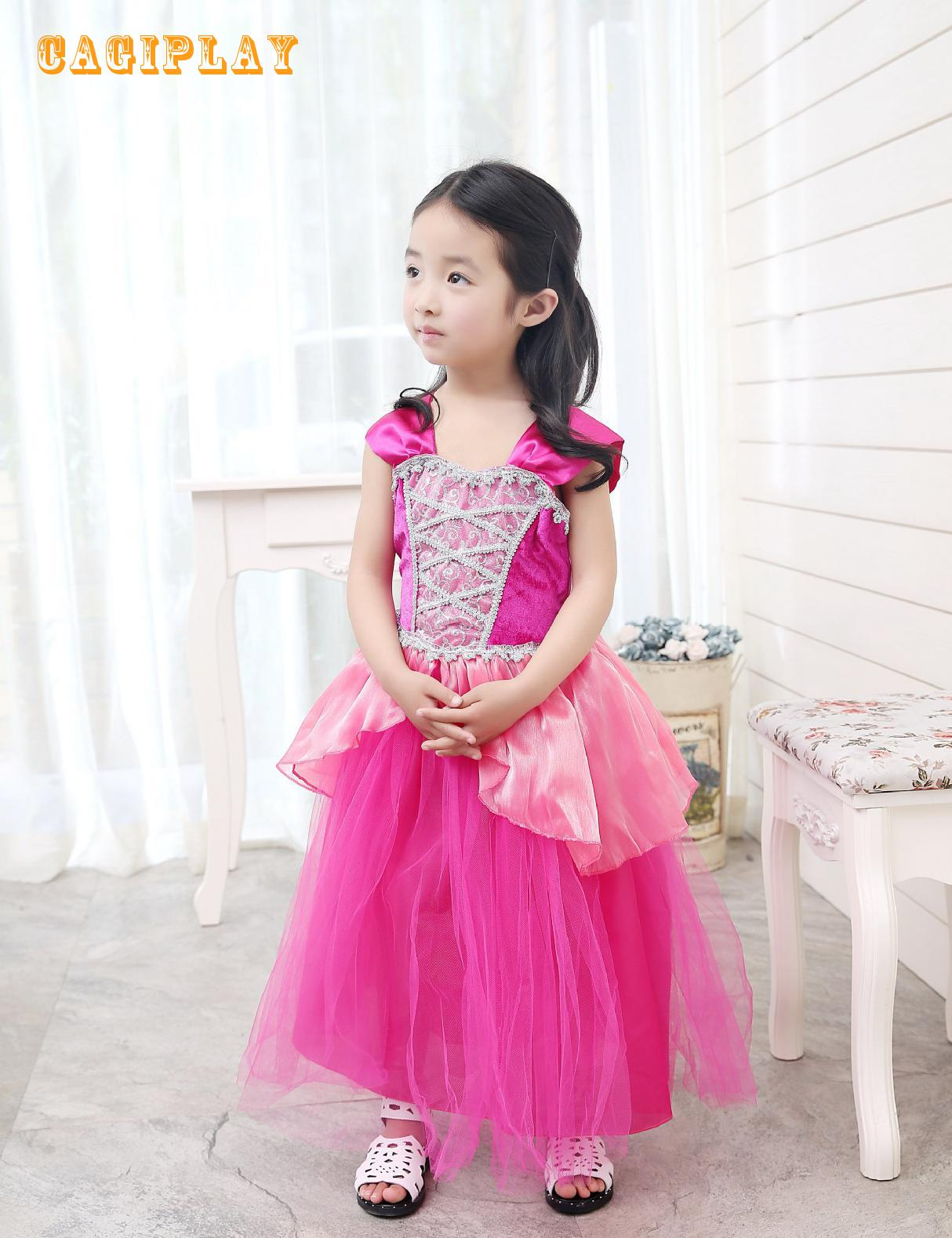 Kids Carnival Clothing Girls Sleeping Beauty Aurora Briar Rose Cosplay Princess Dress Child Halloween Party Role Play Costume