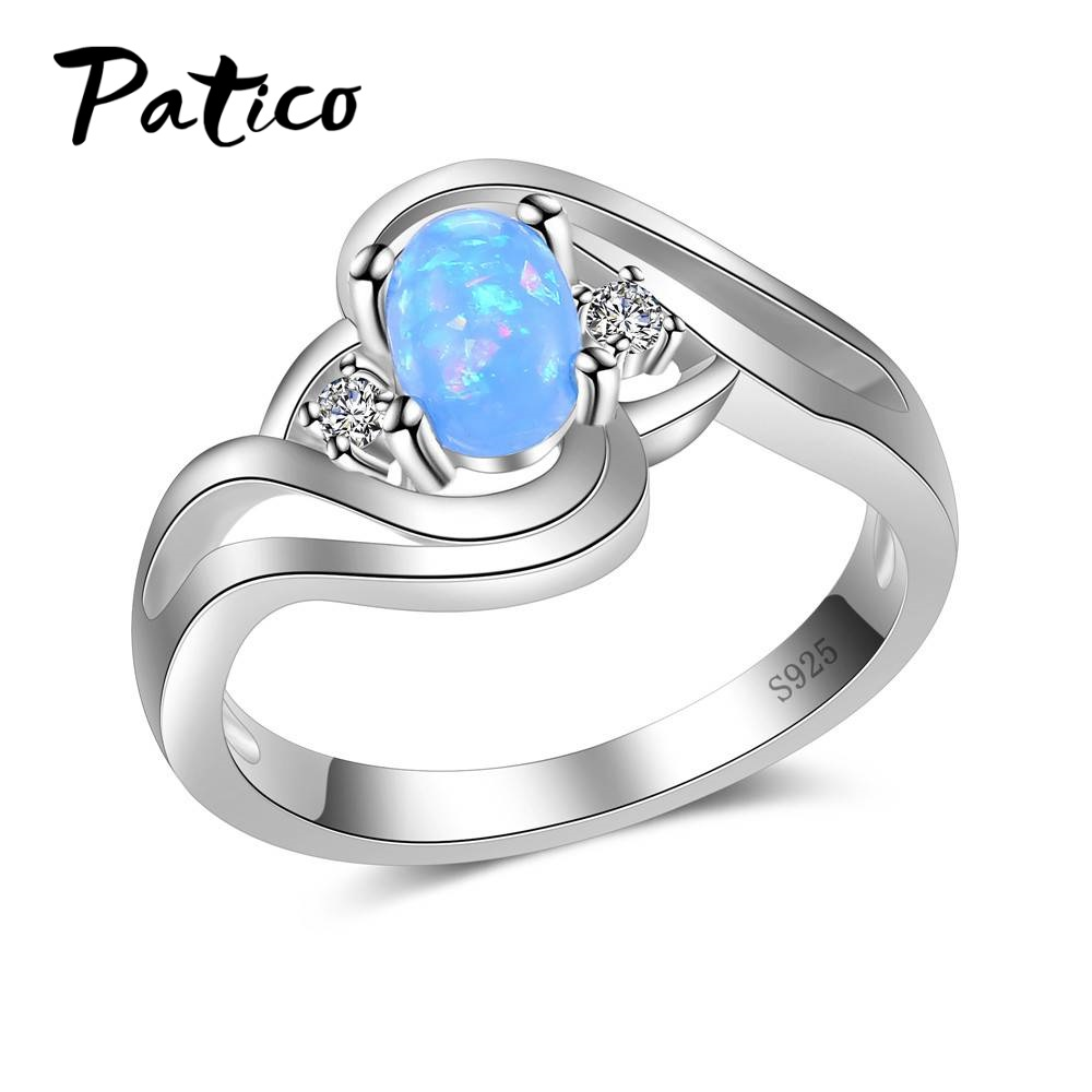 PATICO Fashion Natural Blue Fire Opal Genuine Ring Solid 925 Sterling Silver For Women Color Gem Stone Rings Fine Jewelry