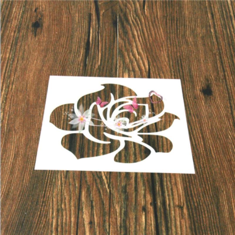 1PC Classic Rose Flower Shaped Reusable Stencil Airbrush Painting Art DIY Home Decor Scrap Booking Album Crafts