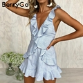 BerryGo Sexy v neck lace up sexy jumpsuit women Eleruffle backless short jumpsuit romper 2018 Casual beach summer jumpsuit